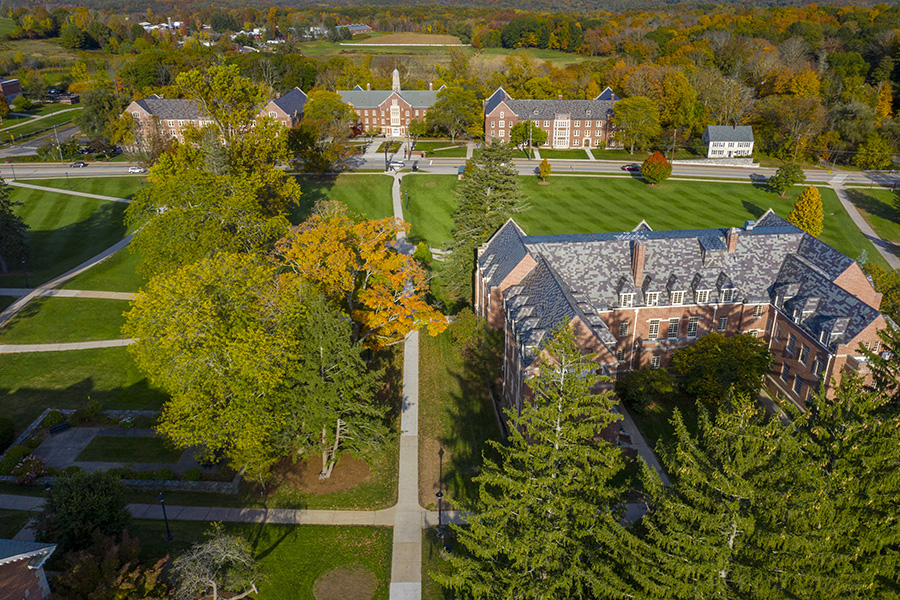 Aerial (drone) view of the UConn Storrs campus.